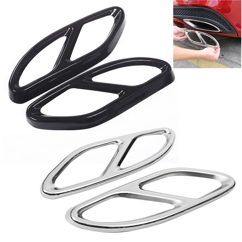 2pc Exhaust Pipe Tail Cover Trim Decor Frame For <font><b>Mercedes</b></font> Benz A B C <font><b>E</b></font> <font><b>Class</b></font> W176 W246 <font><b>W213</b></font> W205 GLC 2016 / <font><b>2017</b></font> Car <font><b>Accessories</b></font> image