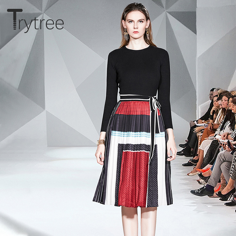 Trytree Autumn Winter Women Casual Two Piece Set O-neck Knitting Black Tops + Skirt Pleated Panelled Fashion Set 2 Piece Set