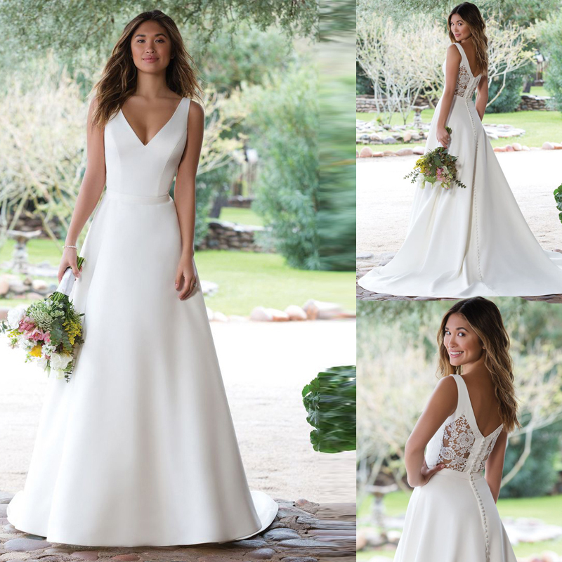 Wedding-Dresses Bridal-Gowns Button Court-Train Satin A-Line Illusion Ivory White V-Neck title=