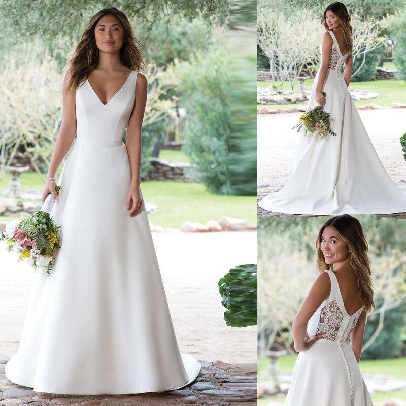 Satin Wedding Dresses 2020 A Line V Neckline White Ivory Buttons Back Lace Wedding Bridal Gown Vestido De Noiva Sweep Train