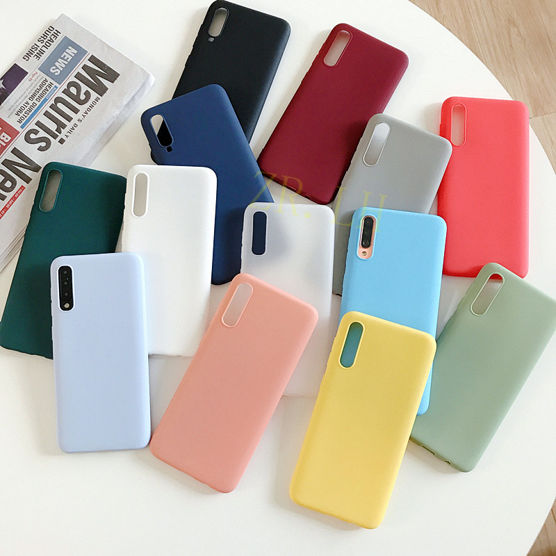 Silicone Case For Samsung Galaxy A30 A40 A50 A10 A20 A70 Solid Candy M10 A20 M20 A7 2018 Note 10 9 S8 S9 S10 Plus Cases Cover