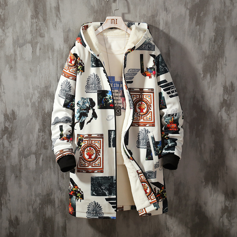 YASUGUOJI Fleece Jacket Spring Parkas Men Print Japanese Hooded Long Trench Coat Black Hip Hop Streetwear Thick Men's Jackets