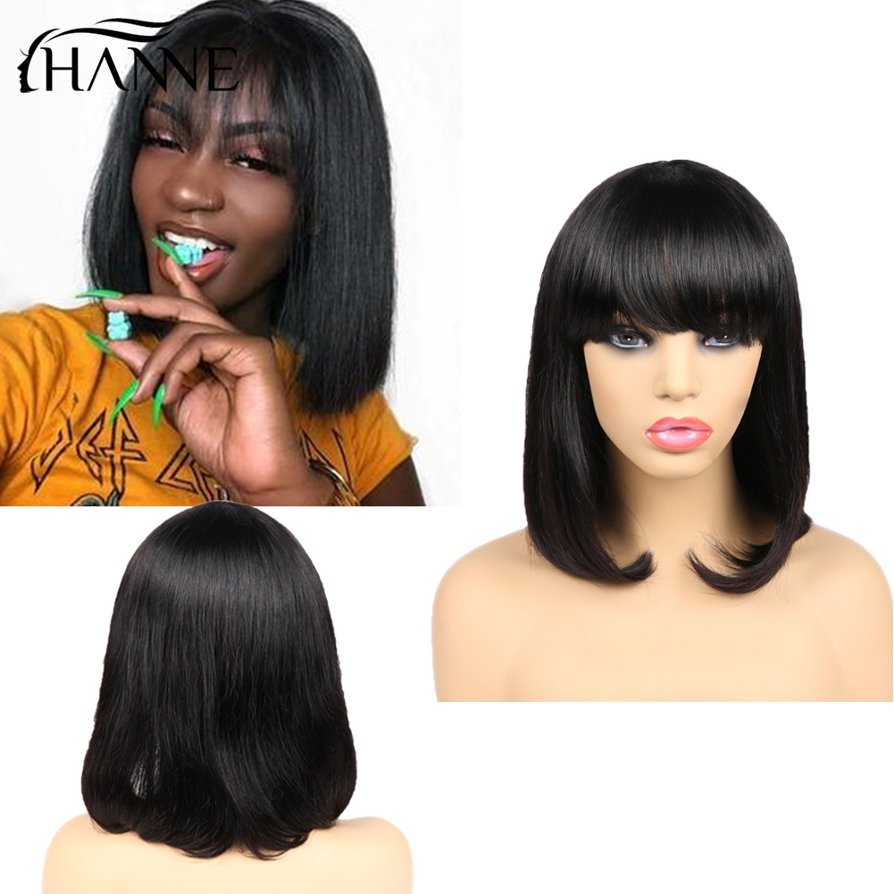 Short Human Hair Wigs Perruque Cheveux Humain Bob Pixie Cut Wig Brazilian Natural Hair Glueless Wigs With Bangs For Black Women