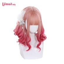 L-email – perruque Lolita rose dégradé, perruque synthétique mi-lâche, douce Harajuku japonaise, Cosplay, résistante à la chaleur