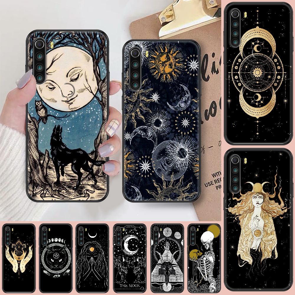 Witches moon Tarot Mystery totem Phone case For Xiaomi Redmi Note 7 7A 8 8T 9 9A 9S 10 K30 Pro Ultra black soft bumper trend