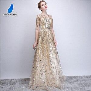 Image 4 - DEERVEADO Robe De Soiree Half Sleeves Long Evening Dresses with Belt Sequins Formal Dress Women Occasion Party Dresses YS449