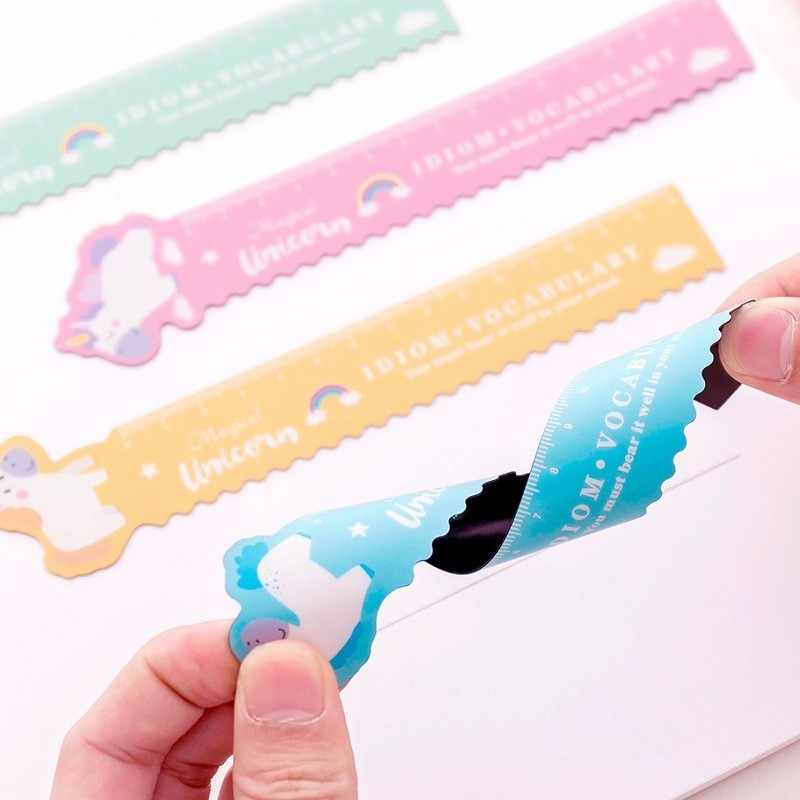 Ellen Brook 1 Pcs Kawaii Pig Unicorn Folded Plastic Ruler Measuring Straight Ruler Tool Student Gift Stationery