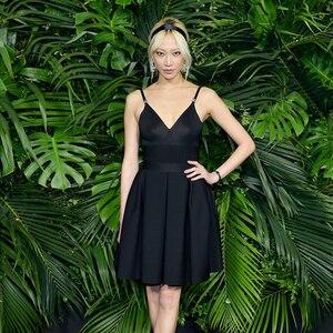 Pouco preto vestido feminino 2020 verão runway designer hepburn v pescoço cinta de espaguete vestido kitted sexy noite clube vestido de festa