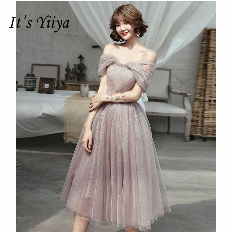 It's YiiYa   Cocktail     Dress   Elegant Boat Neck Women Party   Dresses   Off Shoulde Plus Size Shining Tea Length Robe De Soiree E886
