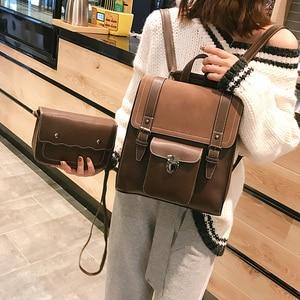 Image 1 - 2 unids/set de mochilas de cuero para mujer, mochila para chica adolescente, mochila para mujer, bolsas de viaje de Pu de gran capacidad, bolso escolar Vintage