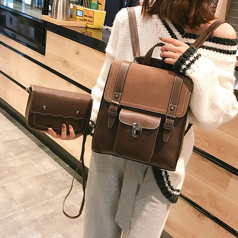 Fashion 2 PCS/SET Leather Women Backpacks For Teenager Girl Female BackPack Large Capacity Pu Travelling Bags Vintage School Bag