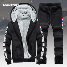 Fleece Warm Hoodies Men Winter 2 Piece Set Hooded Tracksuit Thick Velvet Sweatshirt+Pants Brand Mens Clothing Casual Sports Suit
