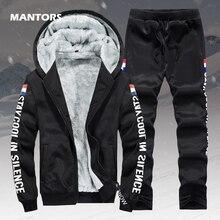 Polar sıcak Hoodies erkekler kış 2 adet Set kapşonlu eşofman kalın kadife kazak + pantolon marka erkek giyim rahat spor elbise
