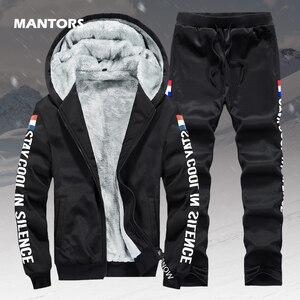 Image 1 - Polar sıcak Hoodies erkekler kış 2 adet Set kapşonlu eşofman kalın kadife kazak + pantolon marka erkek giyim rahat spor elbise