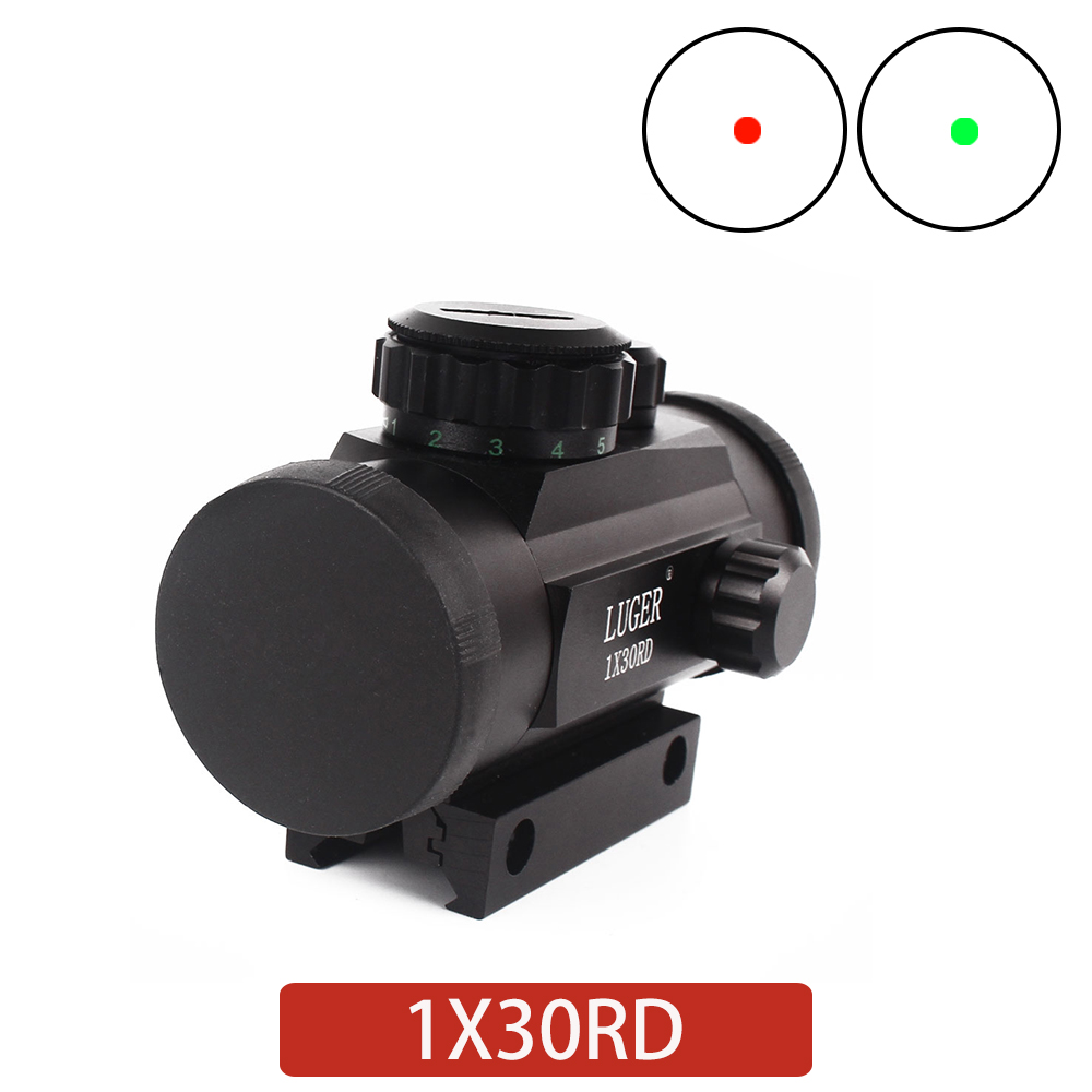 Holographic 1x30RD Red And Green Dot Rifle Optical Sight For 11mm / 20mm Rail Mounted Outdoor Hunting Tactical Rifle Sight