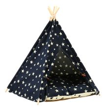 Starry Sky Print Sturdy Triangle Pet Teepee Bed with Cushion Luxery Dog Cat Tent 425D