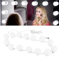 Led 5 v espelho cosmético lâmpada hollywood maquiagem luzes 10 14 lâmpadas kit para penteadeira stepless regulável walllamp iluminação luz|  -