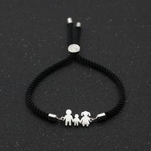Cute Bear Family Dad Mom Son Stainless Steel Bracelets& Bangles Charm Simple Adjustable Rope Chain Bracelet Men Women Jewelry