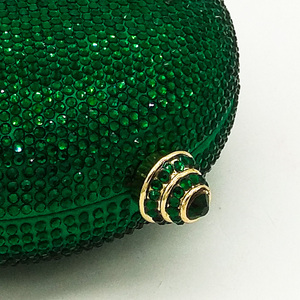 Image 3 - Boutique De FGG Elegantผู้หญิงคริสตัลสีเขียวรอบบอลกระเป๋าถือคลัทช์สำหรับงานแต่งงานเพชรBagกระเป๋าถือ