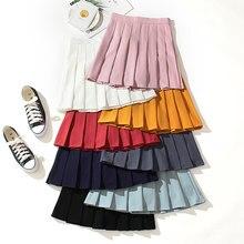 Alta cintura faldas Kawaii Harajuku faldas las mujeres las niñas Lolita falda de marinero A-line de gran tamaño Preppy escuela uniforme