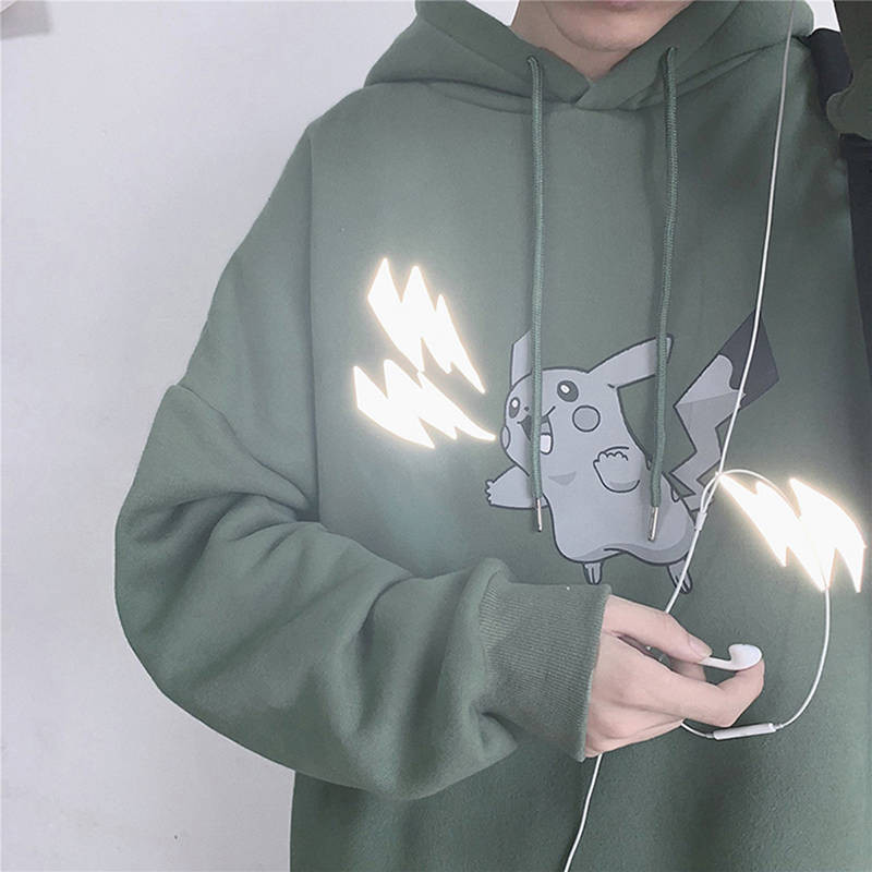 Pokemon Pikachu Reflective Print Hoodies Autumn Winter Plus Velvet Warm Sweatshirt Harajuku Men/women Joker Pullovers Hoodies