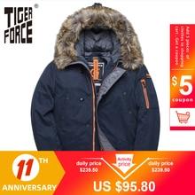 Winter Jacket Parkas Tiger-Force Big-Pockets Thick Men Padded Man Long Fur Coat Artificial-Fur