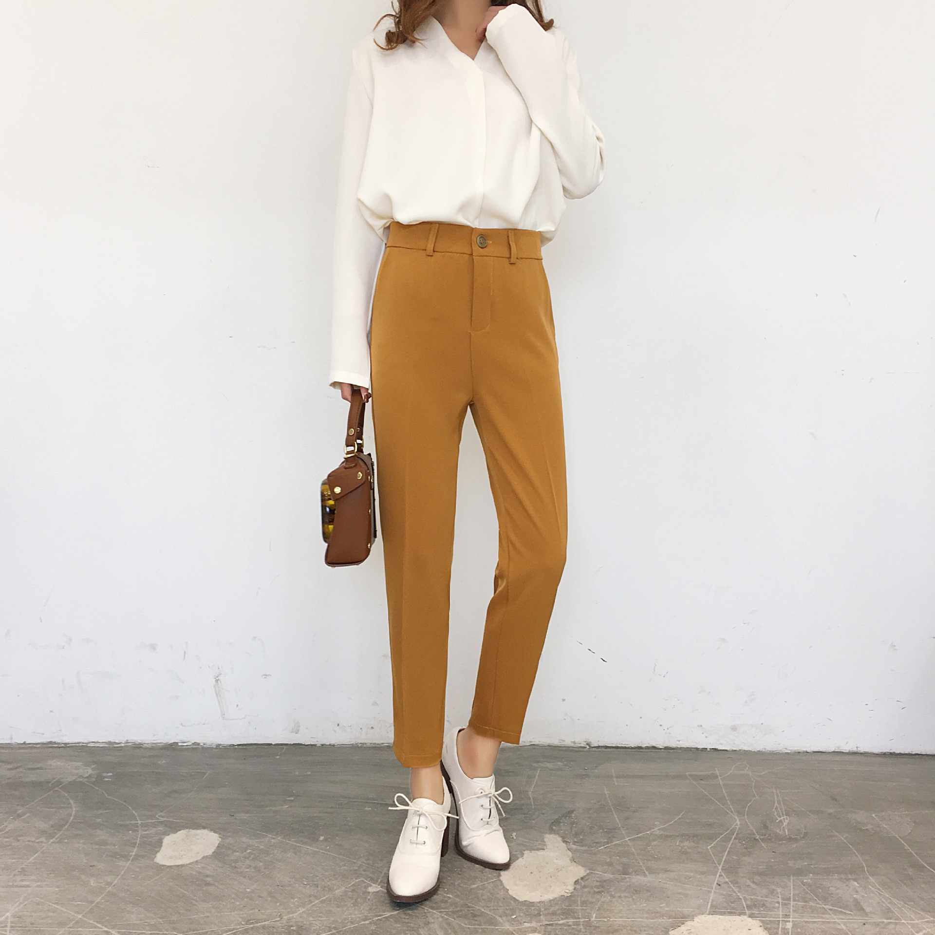 Suit   Pants   Women's   Capri   Casual   Pants   Spring New Style Skinny Harem   Pants   Versatile Elastic Waist Slim Fit Slimming H-159