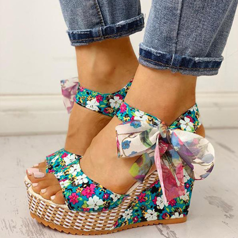 Women Summer Wedge Sandals Female Floral Bowknot Platform Bohemia High Heel Sandals Fashion Ankle Strap Open Toe Ladies Shoes