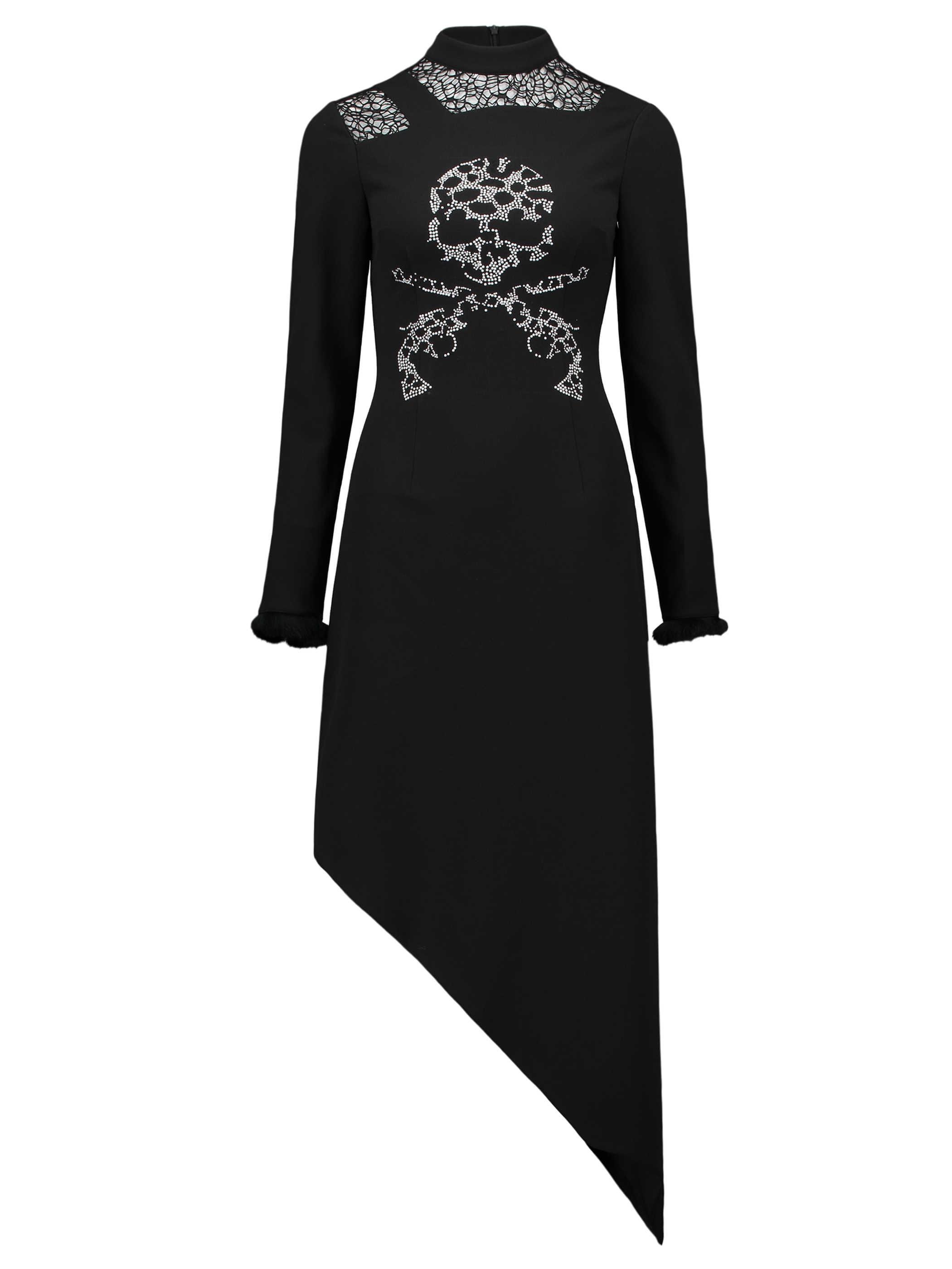 Rosetic 2020 kadın gotik elbise rahat kafatası Goth şık siyah dantel Harajuku uzun kollu asimetrik seksi kulübü kadın Maxi elbiseler