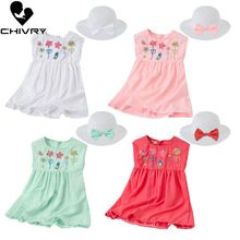 New 2020 Summer Girls Cute Flower Embroidery A-line Dress with Hat Kids Baby Girls Sleeveless Princess Dresses Children Clothing w l monsoon baby girls dress with sashes 2017 autumn brand princess dress girls clothing flower kids dresses children clothes