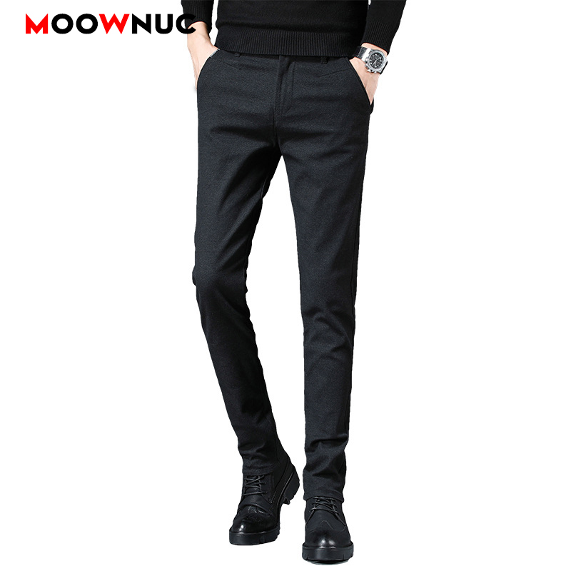 Long Pants Men's Trousers Plus Size Business Casual Autumn Male Streetwear Slim Elastic Hombre Fashion Straight 38 Brand MOOWNUC
