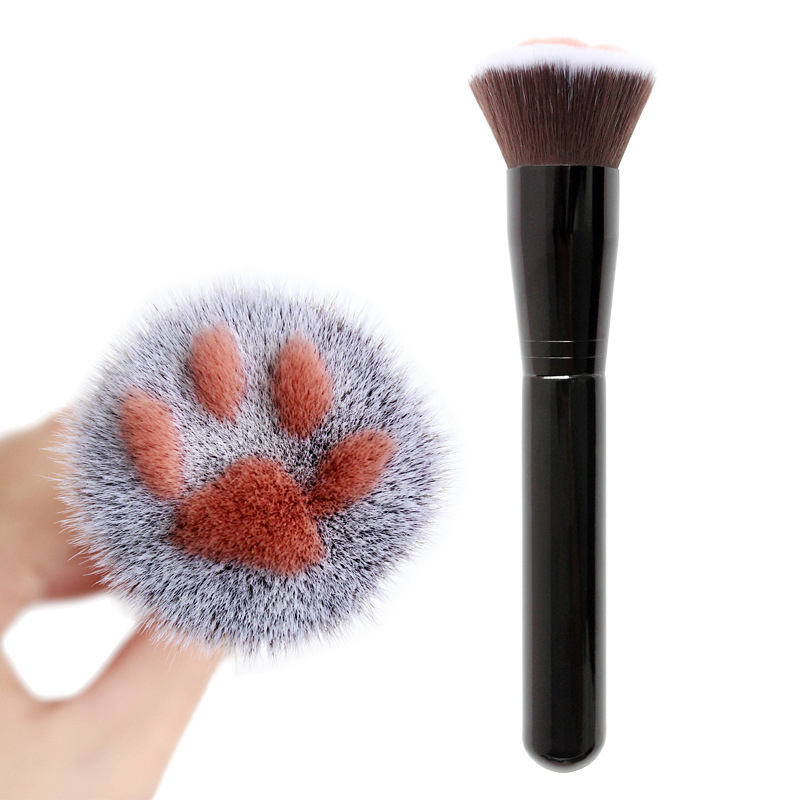 1 Uds. Garra de gato dulce pinceles con forma para maquillaje Kawaii brocha de base polvo cepillo de abedul mango de fibra artificial herramienta de belleza para el cabello