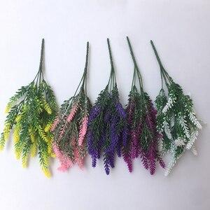 Image 5 - 1 mazzo di lavanda Artificiale rayon fiore del desktop falso disposizione dei fiori decorazione di cerimonia nuziale decorazione del partito puntelli Foto