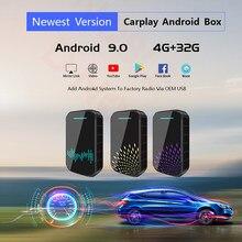 4 + 32G Android 9,0 Wireless Carplay ai box unterstützung Spiegel Link Stecker und Spielen Für universal autos mit carplay