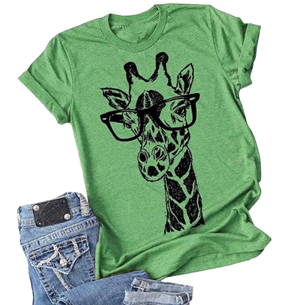 CYSINCOS 2020 New Summer Giraffe Print T Shirts For Women Cartoon Casual T-shirt Lady Short Sleeve Tops Tees Shirt Female Cloth