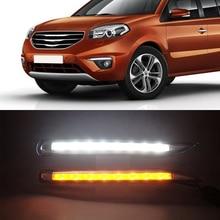 Car Flashing 1set For 2011   2014 Renault koleos LED DRL Daytime Running Light Daylight Waterproof yellow Signal Styling lights