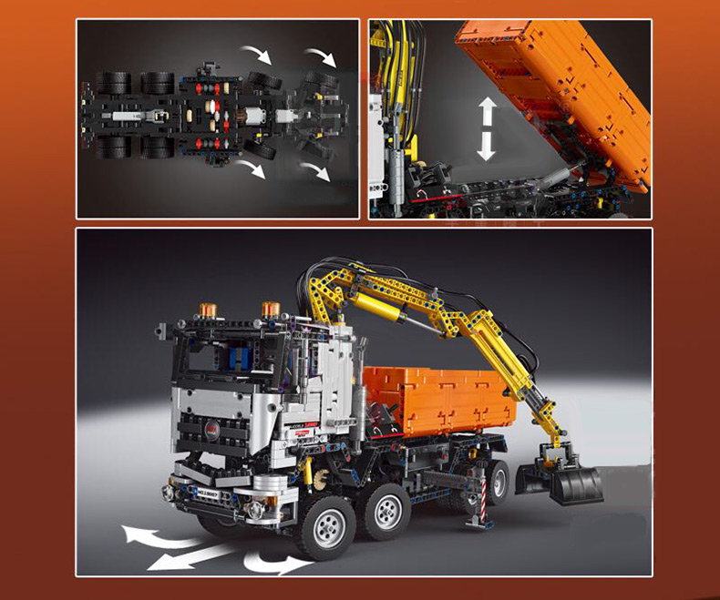 MOULD KING Technic MERCEDESE AROCS Remote control Truck App Motorized Car Building Block 7