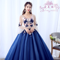 Vestidos De 15 Anos Azul Ball Gowns Sweet 16 Long Blue Flare Sleeve Appliques Girl Quinceanera Dresses For Quinceanera 15 Years