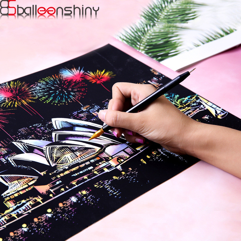 BalleenShiny Kids Magic Scratch Painting Toys DIY Famous Buildings Art Drawings Child Educational Toys Early Learning Gifts
