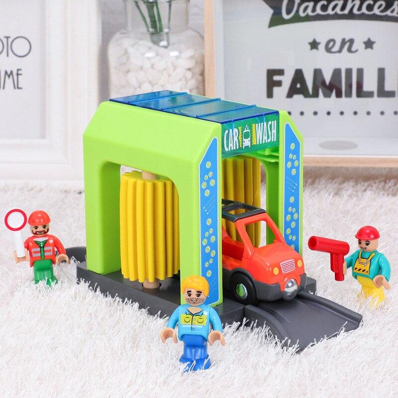 Brinquedo lavagem de carro ferroviário conjunto de carro trem pista de brinquedo bloco de construção caminhão conjunto criança brinquedos de madeira compatível trilha crianças puzzle carro de brinquedo