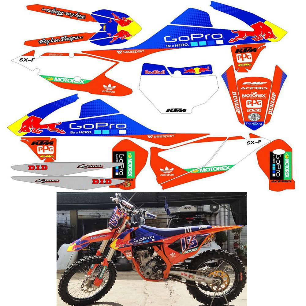 For <font><b>KTM</b></font> 125 250 300 350 <font><b>450</b></font> SX SXF 2016 2017 2018 EXC EXCF XCW 2017 2018 Graphics Backgrounds <font><b>Stickers</b></font> Kit Decal image