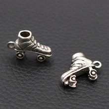 Creative Mini 3D Roller Skates Charms Nostalgic Childhood Entertainment Jewelry Pendant Handicraft Accessories A786 10pcs