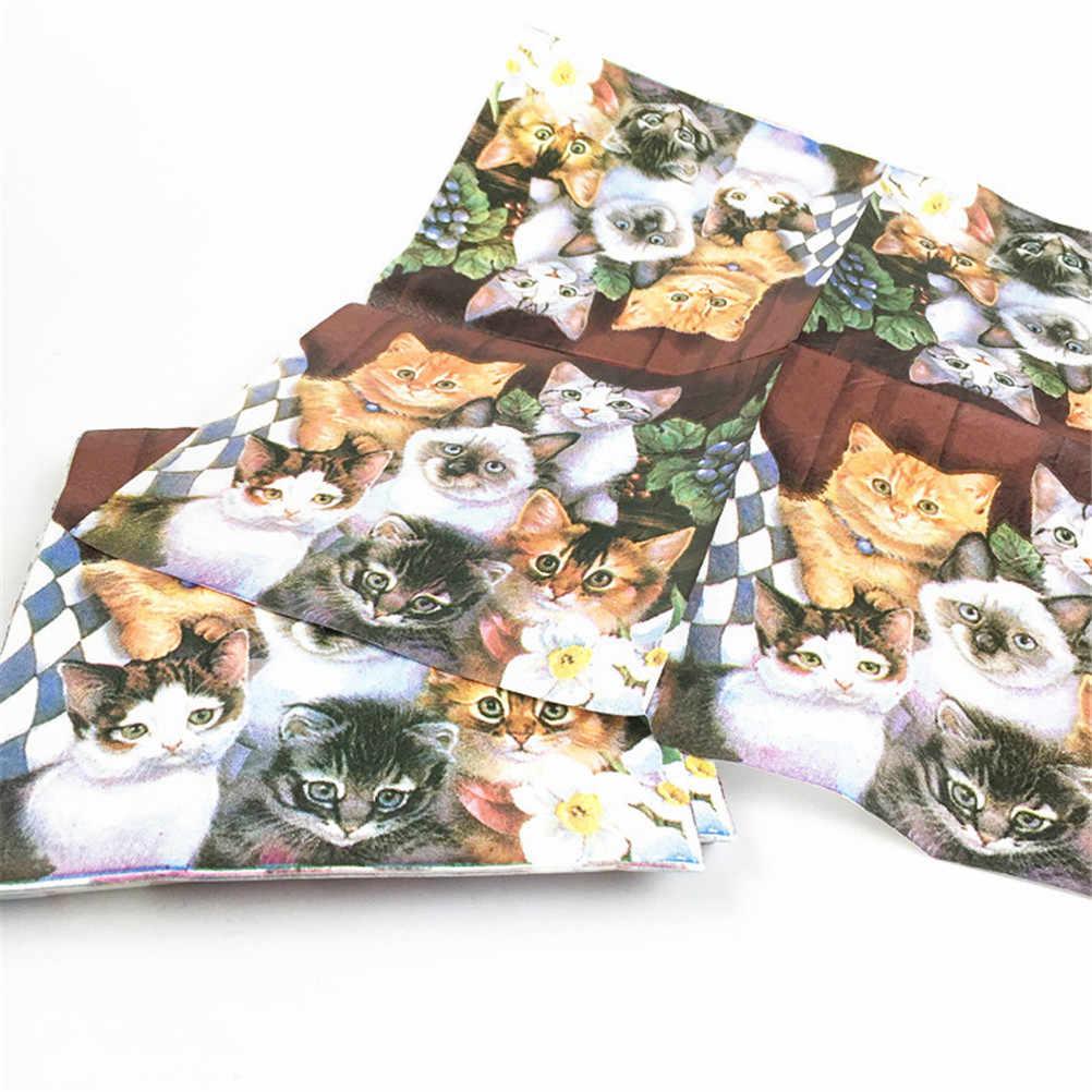 33 سنتيمتر x 33 سنتيمتر 20 قطعة القط الحيوانات الأليفة ورقة منديل لفتاة المتاح أدوات المائدة حفلة احتفالية لوازم الحفلات الأنسجة الديكور