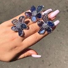 Missvikki Роскошные синие прозрачные цветы серьги для женщин