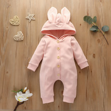 Infant Baby Romper Newborn Baby Long Sleeve Rabbit Ears Jumpsuit Cute Hooded Solid Color Jumpsuit for Baby Boys Girls(China)