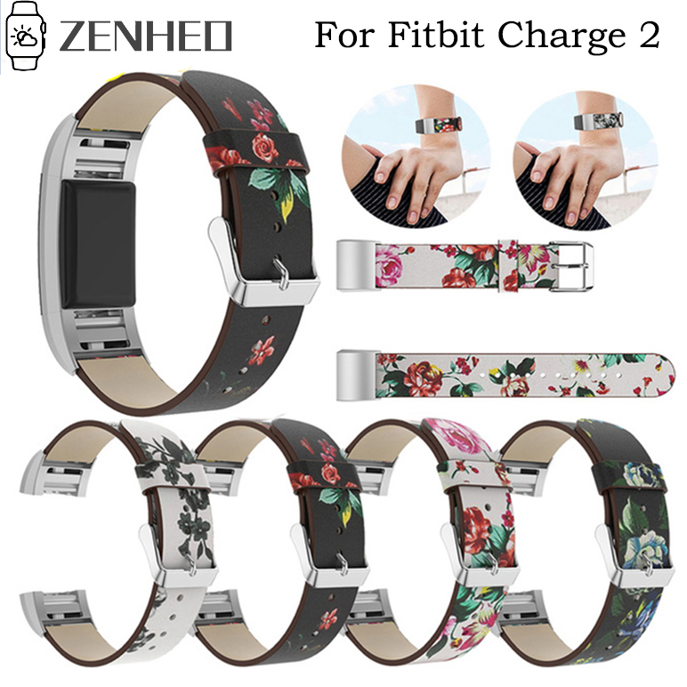 Painted Strap Replacement Watchband For Fitbit Charge 2 Bracelet Rural Style Floral Leather Strap Watch Band For Fitbit Charge2