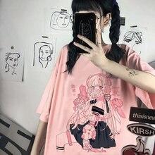 Calle estética japonesa Harajuku tops informales kawaiicamiseta Ropa para mujer verano atuendo holgada Ulzzang vintage moda