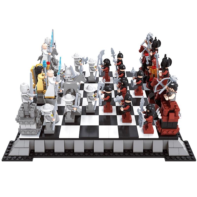 AUSINI 27907 Новая серия замка Международная Шахматная модель наборы строительных блоков Minis Детские Кирпичи игрушки для детей подарок для мальч...