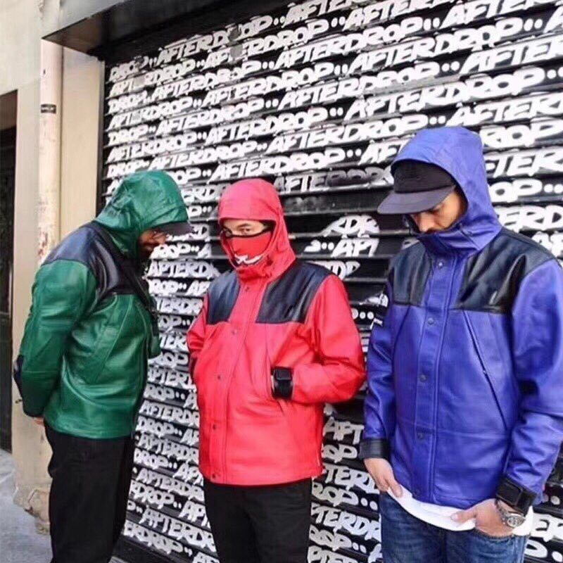 Origional Hip Hop Green Black And White With Pattern Red Purple Leather Coat Raincoat Jacket Hooded Coat Men And Women Couple Cl
