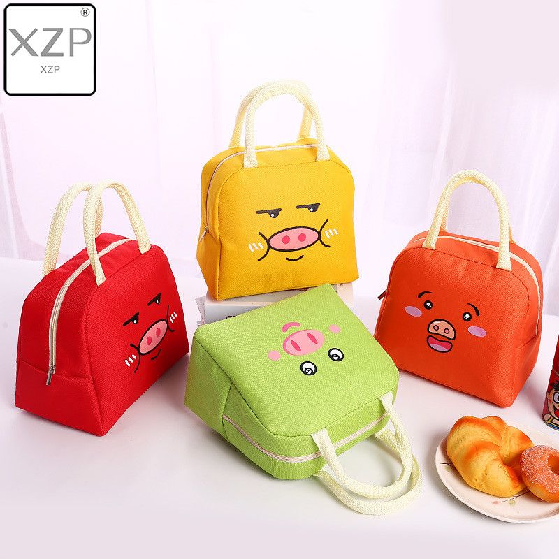XZP Cute Pig Portable Lunch Bag Thermal Insulated Lunch Box Tote Cooler Bag Bento Pouch Lunch Container Food Storage Bags Kids